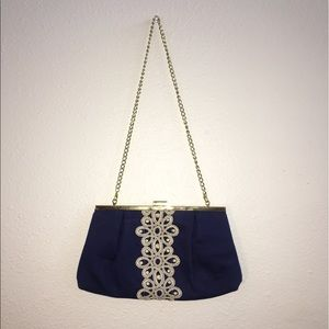 Lilly Pulitzer Blue Gold Clutch Chain Purse